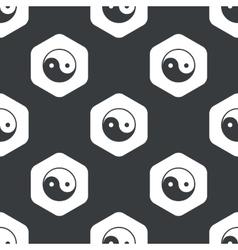 Black hexagon ying yang pattern vector