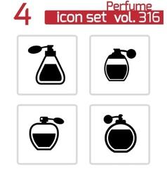 Black perfume icons set vector