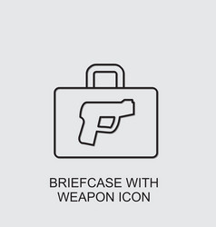 Briefcase with weapon icon vector