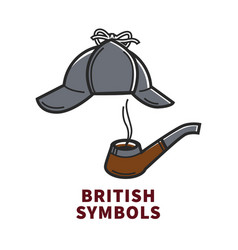 british symbols promotional poster with sherlock vector image