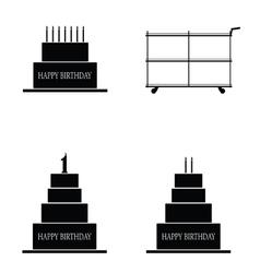 Cake happy birthday set vector