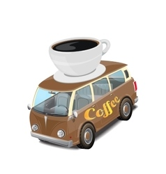 Car coffee fast food on white vector image