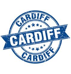 Cardiff blue round grunge vintage ribbon stamp vector