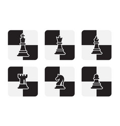 chess pieces icons isolated on white background vector image