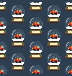 Christmas snow globe with red truck seamless vector