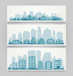 City skyline sets vector