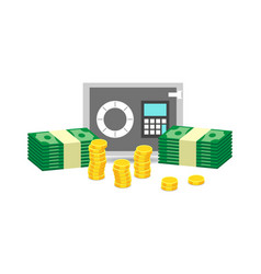 Closed small safe box and stacks of gold coins vector