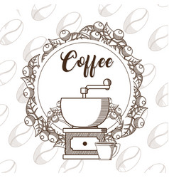 Coffee grinder with cup vector