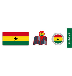 Collection ghana national flags isolated vector