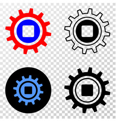 composition of gradiented dotted gear and grunged vector image