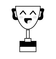 Contour kawaii cute happy prize cup vector