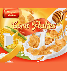 Corn flakes honey and milk splashes 3d realistic vector