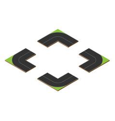 corners circle road elements vector image