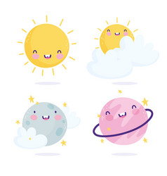cosmos galaxy planets sun clouds cartoon cute text vector image