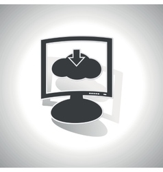 Curved cloud download monitor icon vector image