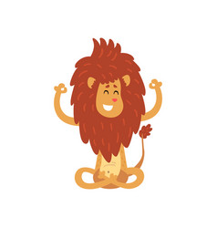 Cute lion cub cartoon character meditating in vector