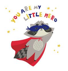 Cute raccoon in superhero costume vector