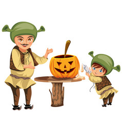 Dad with son making halloween pumpkin poster vector