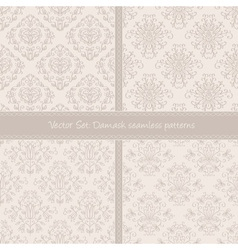 Damask floral textile light creamy pattern vector image