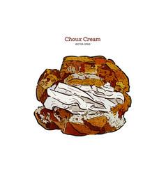 Delicious cream puff cakes with cream hand draw vector