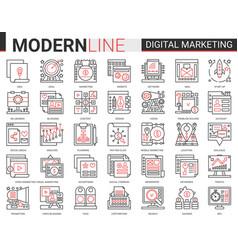 digital marketing complex red black outline line vector image