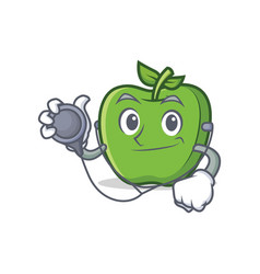 doctor green apple character cartoon vector image
