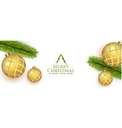 elegant merry christmas realistic banner vector image