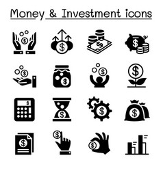 Financial investment icons set vector