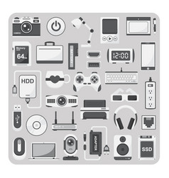Flat icons laptop set vector