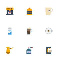 Flat icons paper box espresso dispenser latte vector