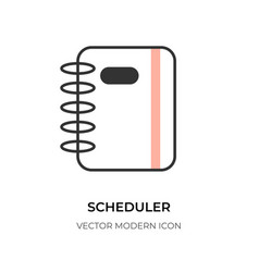 Flat line scheduler icon business planner vector