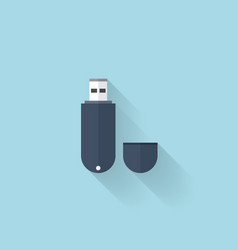 Flat web icon Usb memory drive vector image