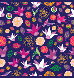 flowers festival-flowers in bloom seamless repeat vector image