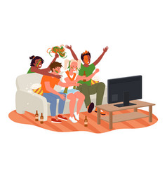 Friend people fans watching soccer match on tv vector