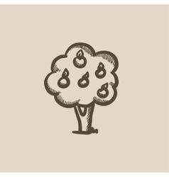 Fruit tree sketch icon vector