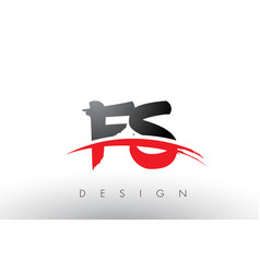 fs f s brush logo letters with red and black vector image