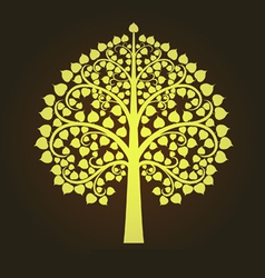Gold Bodhi tree in Thai art style vector