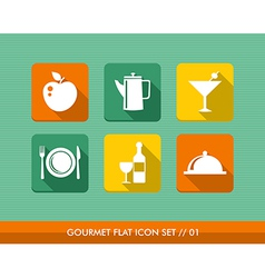 Gourmet menu flat icons set vector image