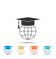 Graduation cap on globe world education symbol vector