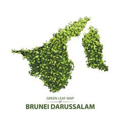 green leaf map of brunei darussalam vector image