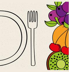 half plate fork kiwi banana grape nutrition vector image