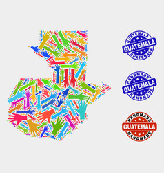 Hand composition guatemala map and textured vector