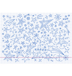 hand drawn doodle stars collection drawing vector image