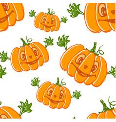hand drawn pumpkin character seamless pattern vector image