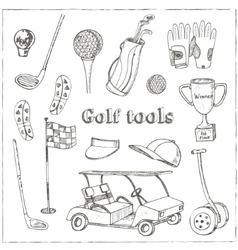 Hand drawn set with Golf tools vector