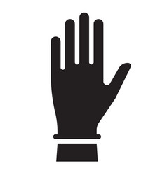 hand in glove black and white silhouette sign vector image