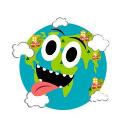 happy earth emote earth day vector image