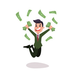 Happy wealthy businessman character jumping under vector