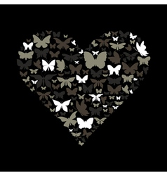 Heart the butterfly vector