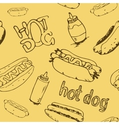 Hot Dog Seamless Pattern vector image